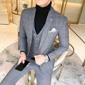 New Men Slim Groom Suits Wedding Dress Suits For Men Blue Plaid Formal wear Suits 3 Pieces Suits Jackets+Pants+Vest Size XS-5XL