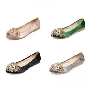 4 Colors Ladies Flats Shoes Women Spring Summer Foldable Ballet Flats Pointed Toe Rhinestone Slip On Loafers Casual Shoes Woman
