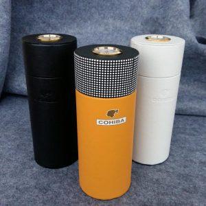 COHIBA  Leather Cigar Case Cedar Wood Lined Tube Mini Travel Humidor Box with Long Humidifier Hygrometer