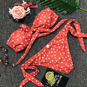 Swimsuit Women 2018 Sexy Ladies Dot Printed Bra Set Casual Push-Up Padded Bow  Swimsuits  a26 drop