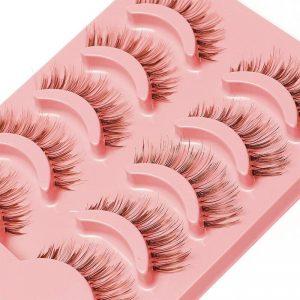 5 Pairs Natural Soft Brown Eye Lashes Makeup Handmade Thick Fake False Eyelashes Extension Natural Look Clear Band