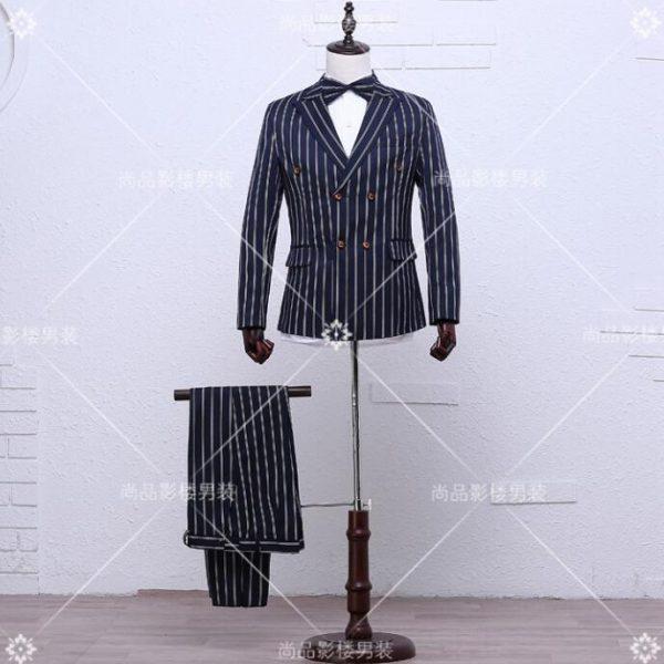 Blazer men formal dress latest coat pant designs suit men stripe homme terno masculino fashion marriage wedding suits for men
