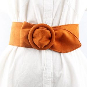 The Girl Round Button Suede Flannel Belt Women's Soft Face Width Decoration Strap Designer Velvet Fashion Belts Cinturon