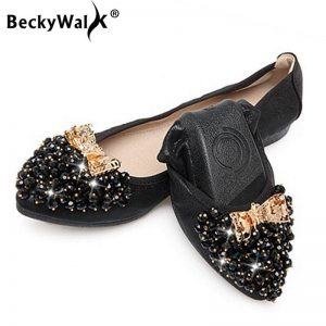 2019 Spring Summer Ballet Flat Shoes Women Foldable Fashion Beaded Shoes Woman Flats Slip On zapatos mujer Size 34-43 WSH2533