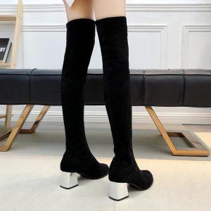 Size 35-43 Winter Over The Knee Boots Women Stretch Fabric Women Thigh High Sexy Woman Shoes Long Bota Feminina