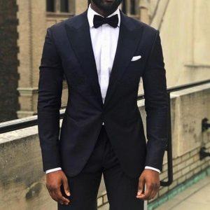 Royal blue / black men's business suit groom wedding dress jacket lapel decoration fit men's suit jacket two-piece jacket pants