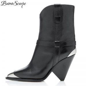BuonoScarpe Real Leather Ankle Boots Women Metal Pointed Toe Rivet Tassel Strange High Heel Boots Woman Fashion Matin Boots2019