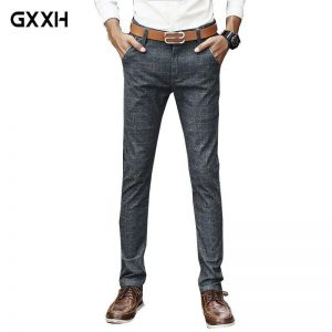 2019 new Korean version of the Men's jeans B cotton jeans Men's Summer Slim Straight Section of the waist pants Size 36 38