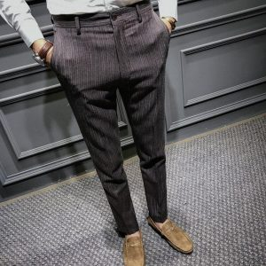 British wind stripe men's casual pants youth self-cultivation business trousers autumn new tide foot men's pants