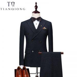 Jackets+Pants+Vests Mens Double Breasted Suit 2018 Slim Fit Vertical Striped Suit Men Luxury Wedding Dress Blazer Suits Male
