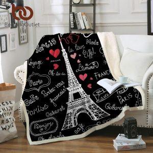 BeddingOutlet Paris Tower Throw Blanket on the Bed Romantic Letters Sherpa Fleece Blanket Heart Plush Sofa Plaid 1pc