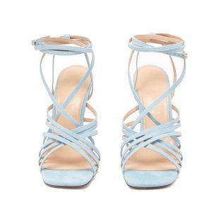 Presales Light Blue Women Leather Sandals Gladiator  Summer Shoes 10cm  Thin High Heels Sandalias Mujer 2019 Ankle Strap Pump