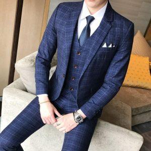 Luxury Men's Suit 3 Piece Fashion Boutique Plaid Wedding Business Casual Large Size Men's Blazer Wedding Banquet Party Dress Set