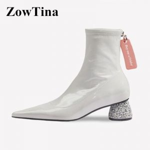 Sexy Pointed Toe Women Short Boots Black Patent Leather Winter Ankle Booties Shoes Fashion 2020 Design Ladies Botines Mujer Shoe