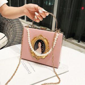 Fashion Box Evening Bag Diamond Clutch Bag Beauty Girl Pearl Luxury Handbag Banquet Party Metal HandlePurse Women's Shoulder Bag