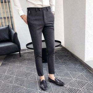 2018 autumn dress exquisite men's casual trousers Korean Slim youth feet pants youth England wild small trousers