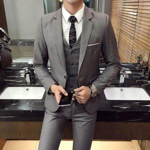 Men's Blazer+ Pants + Vest 3 piece Dress Wedding Suits Fashion Men's Slim Solid Color Business Office Suits Sets Large Size 4XL
