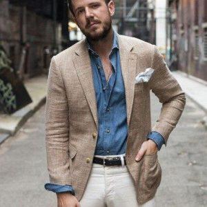 New Arrival Brown Linen Men Suit 2 Pieces(Jacket+Pants+Tie) Fashion Slim Fit Custom Made Blazer High Quality Tuxedo Men Suits 27