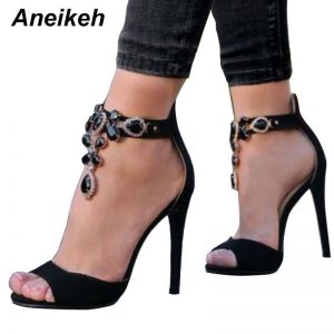 Aneikeh Black Crystal Women Embellished Suede Leather High Heel Sandals Sexy Peep Toe Ankle Strap Rhinestones Gladiator Shoes