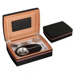 GALINER Cedar Wood Cigar Humidor Box Travel Ashtray Cutter Cigar Case Set With Hygrometer Humidifier Humidor Fit 30 COHIBA Cigar
