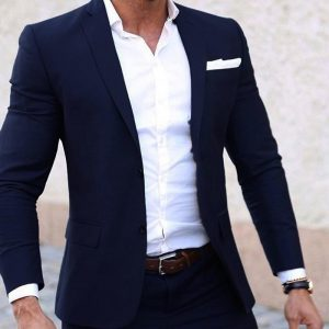 Men Summer Suits Custom Made Light Weight Breathable Blue Man Suit