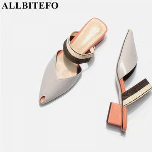 ALLBITEFO soft natural genuine leather women flip flops medium heels women summer fashion sexy slippers pointed toe slides