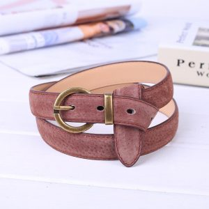 Suede Leather Belt for Women Glod Buckle Jeans Black Belts Women's Fashion Circle Pin Buckles Students Simple High Waist Punk