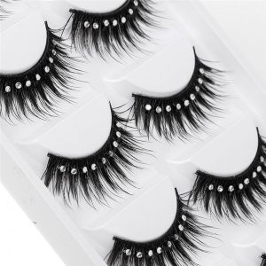 5 Pairs Stage Makeup Extension Eyelashes Black Long With 9 Diamonds Decoration Luxurious Natural Messy Fluffy Volume Lashes Lot