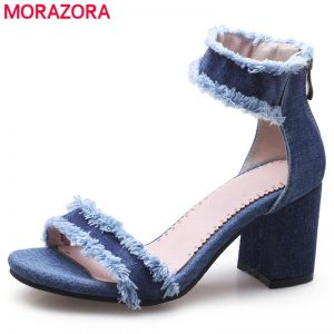 MORAZORA Large size 34-43 NEW 2020 Women shoes blue denim women's sandals square high heels casual ladies summer shoes