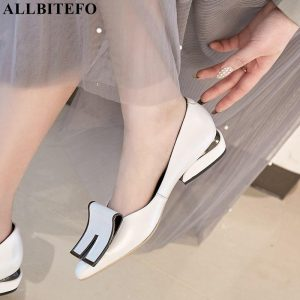 ALLBITEFO large size:34-42 genuine leather pointed toe low-heeled comfortable women shoes high quality women heels girls shoes