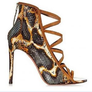 New mixed-color high heel women sandals peep toe snakeskin black zipper sandals fashion ankle sandal boots size 34 to 42