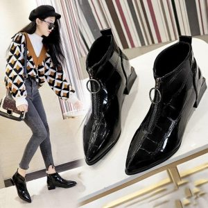 2019 Winter New Shoes Women Ankle Boots Luxury Designer Patent Leather Short Boots Ladies High Heels Zipper Booties