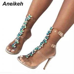 Aneikeh New Summer sandals women Buckle Strap Luxurious Blue Crystal Chain Transparent PVC High Heel Open Toe Sexy Sandals Shoes
