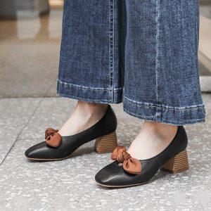 2019 Spring Women Shoes Square Toe High heels Dress Shoes Bowtie Boat Shoes Medium Heels Pumps Woman Slip on ladies shoes N6996