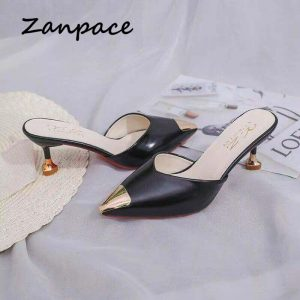 Zanpace Female Slippers High Thin Heels Woman Shoes Sexy Pointed Top Outdoor Slides Fashion Summer House Slippers Flip Flops
