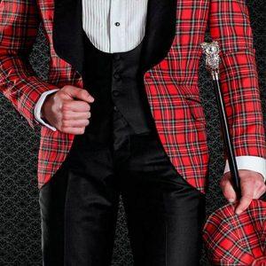 Scottish Plaid Groom Tuxedos for Wedding Prom Mens Suit Black Shawl Lapel Tailored Made 3 Piece Set Jacket with Black Pants Vest