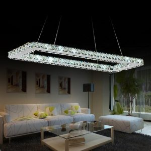 Luxurious Stainless steel Square Crystal chandelier led Lamp High-power modern living chandelier led lustre chandeliers lighting
