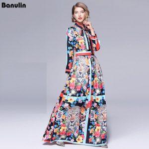 Runway Maxi Dresses 2019 Women High Quality Bow Neck Vintage Animal Print Floor Length Long Party Dress Vestidos Robe Femme
