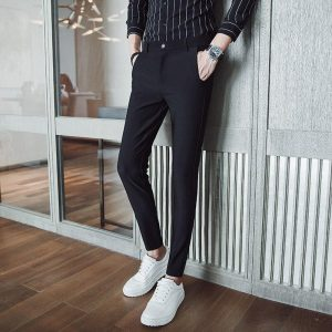 Thin business casual trousers 2018 spring and summer new solid color gentleman Korean Slim pants men's pants