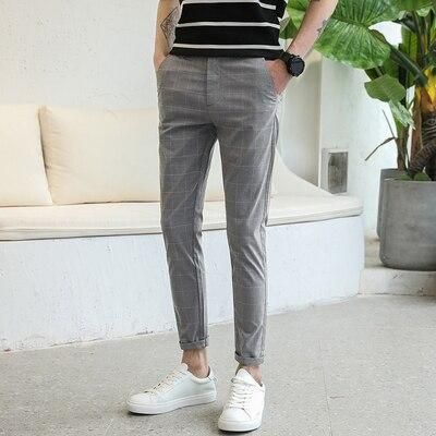 2019 new business casual small trousers men's self-cultivation stretch men's summer feet dress plaid nine points suit pants