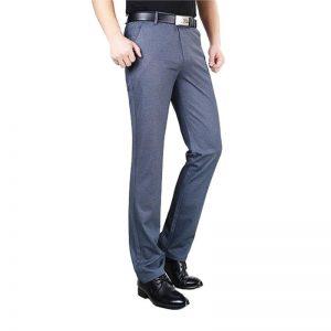 MOGU Summer Trendy Slim Men Mid Waist Casual Cotton Pants Men's Loose Straight Pants Middle Age Pants Business Leisure Trousers