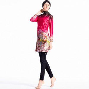 2019 Plus Size Burkinis Islamic Muslim Pink Swimwear Women Girls Modest Hijab Swimsuit Islamic Women Muslim With Swim Hat