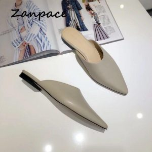2019 Summer Outside Slippers Women Pointed Top Fashion Low Heels Shoes Plus Size 40 Mules Slip on Leather Flats Woman Slides