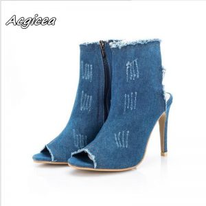 2020 summer new fashion high heels fish mouth hollow boots  women's shoes washed denim sandals Canvas mujer Super High  s110