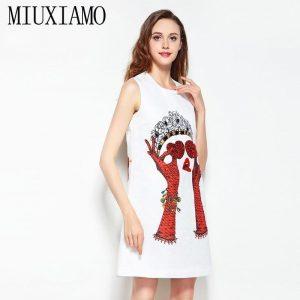 2020 Newest Spring & Summer Fashion A-Line O-Neck Sleeveless Tank Heart Sequined Diamonds Elegant Print Above Knee Dress Women
