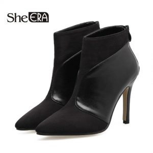 New Spring Autumn Women Ankle Boots Stiletto Thin High Heels Pointed Toe Faux Leather Zipper Style Ankle Boots Sexy Womens Boots
