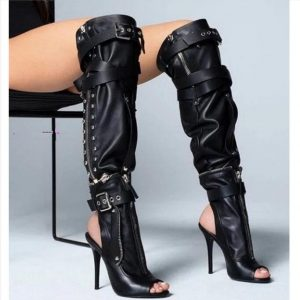 Customize 2020 New Plus Big Size 35-52 Black Buckle Zipper Fashion Sexy High Heel Spring Females Ladies Women Summer Boots X1816