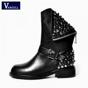 Women's Ankle Boots Genuine Leather Boots big Size 22-28cm length Rivet Square Heels Winter Martin Fur Snow Boots Shoes Woman