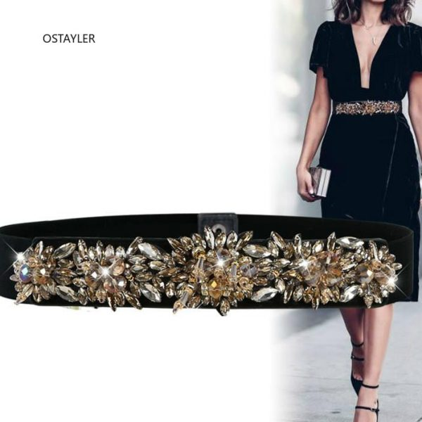 Brand Design Luxury Crystal Bead Women Belts High Elasitc SHiny Rhinestone Flower Waist Band Belts For Ladies Dress Belt Corset