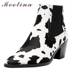 Meotina Winter Chelsea Boots Women Horse Hair Chunky High Heel Ankle Boots Mixed Colors Pointed Toe Shoes Female Fall Size 34-39